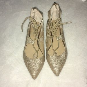 Saks fifth avenue gold point toe flats